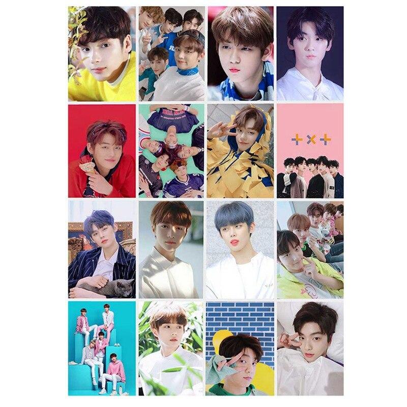 Nieuwe 16Pcs/Setkpop Txt Album Zelf Gemaakt Papier Lomo Kaart Fotokaart Poster Hd Photocard Fans Gift Collection