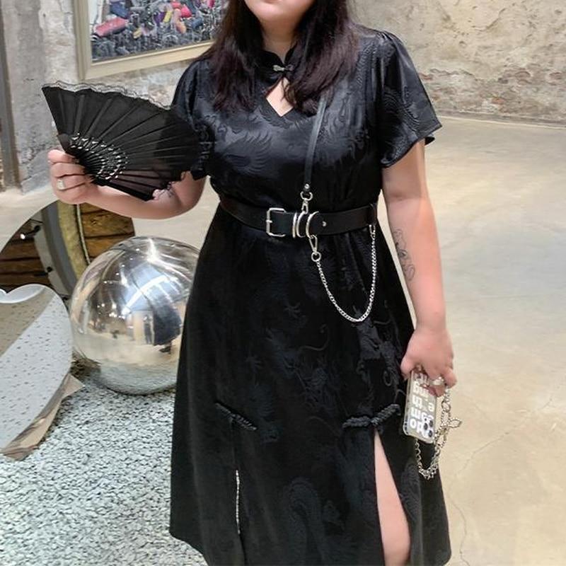 HOUZHOU Plus Size Dresses Gothic Fairy Grunge Black 5xl Maxi Dress for Women 2021 Elegant Vintage Cheongsam Harajuku Summer