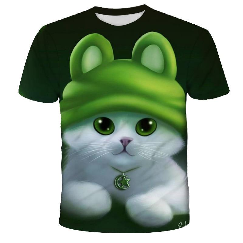 boys animal print t shirt Kids T-shirt Summer Top Cat T-shirt 3D Kitty Animal Print T-shirt Boys Girls Clothes  Funny Children's Clothing O Collar