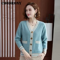 coodrony brand autumn winter knitted ladies sweaters with pockets streetwear fashion elegant casual women slim cardigans w1475