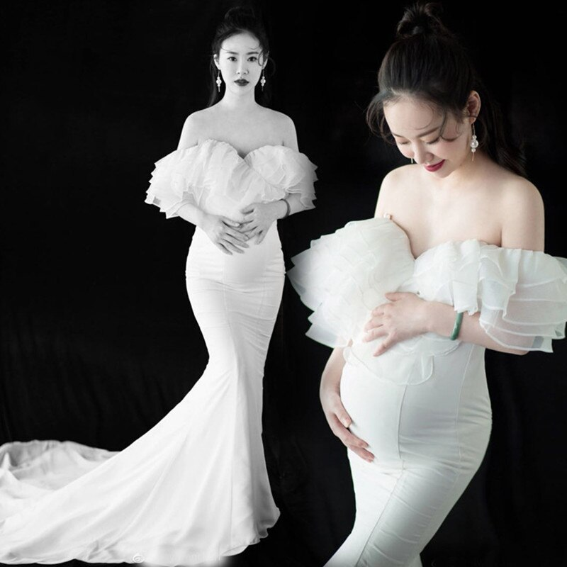 Pregnancy Long Dresses White Maternity Dress Sexy Photography Props Wrap Chest Mermaid Formal Party Wedding Pregnancy Clothes enlarge