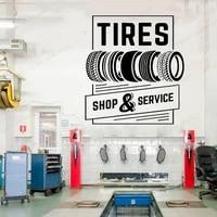 roll tires repair car studio wall sticker auto service shop service logo wall decals vinyl art design hj28