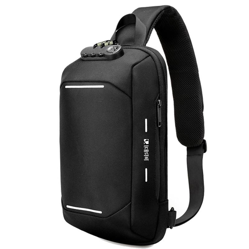 Men Anti-theft Lock Multifunction Shoulder Bag Fashion USB Oxford Crossbody Bag Travel Messenger Pack Chest Bag For Male