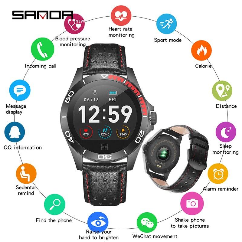 SANDA New Bluetooth Smart Watch Men Women Sport Smartwatch Heart Rate Blood Pressure Monitor Pedomet
