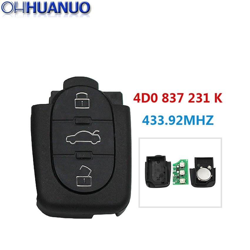 Replacemen novo 3 botão dobrável controle remoto chave do carro para volkswagen/para audi 433.92mhz 4d0 837 231 k