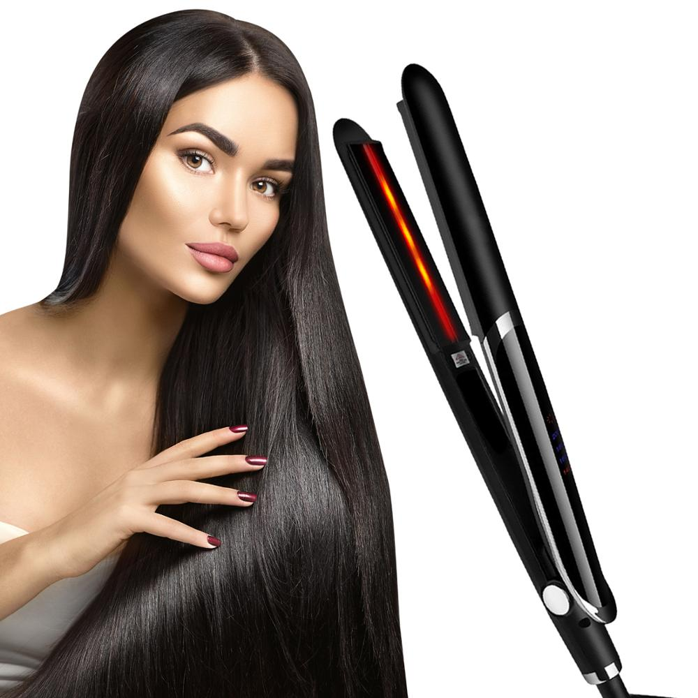 infrared hairdressing tools 2 in 1 infrared ceramic flat iron hair straightener curling iron professional ceramic hair styling