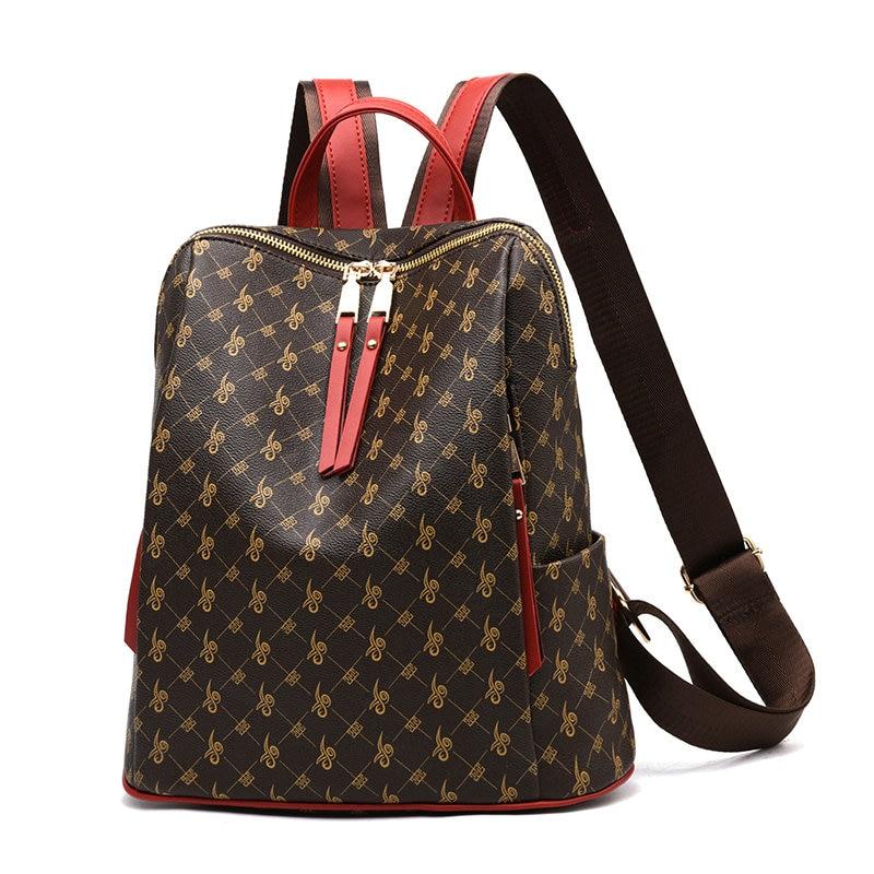 Famous Brand Women Leather Backpack Luxury Designer Shoulder Bag Ladies Printing Backpacks For Girls School Bag Sac