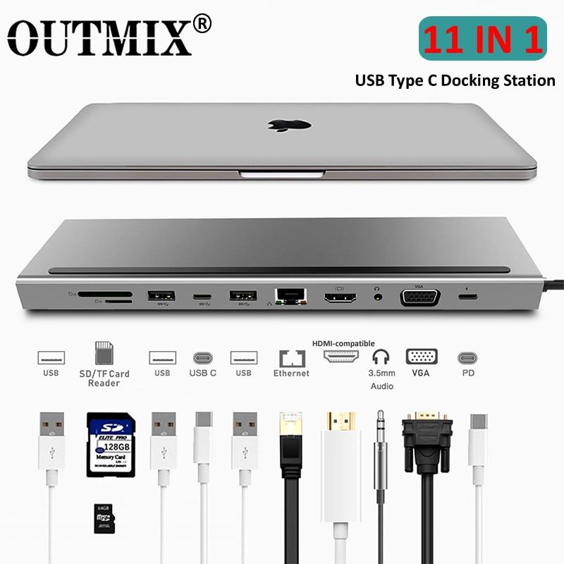 محول USB Type C إلى HDMI ، متوافق مع USB 3.0 ، محول VGA RJ45 ، محول PD ، شحن Loptop Thunderbolt 3 USB C HUB