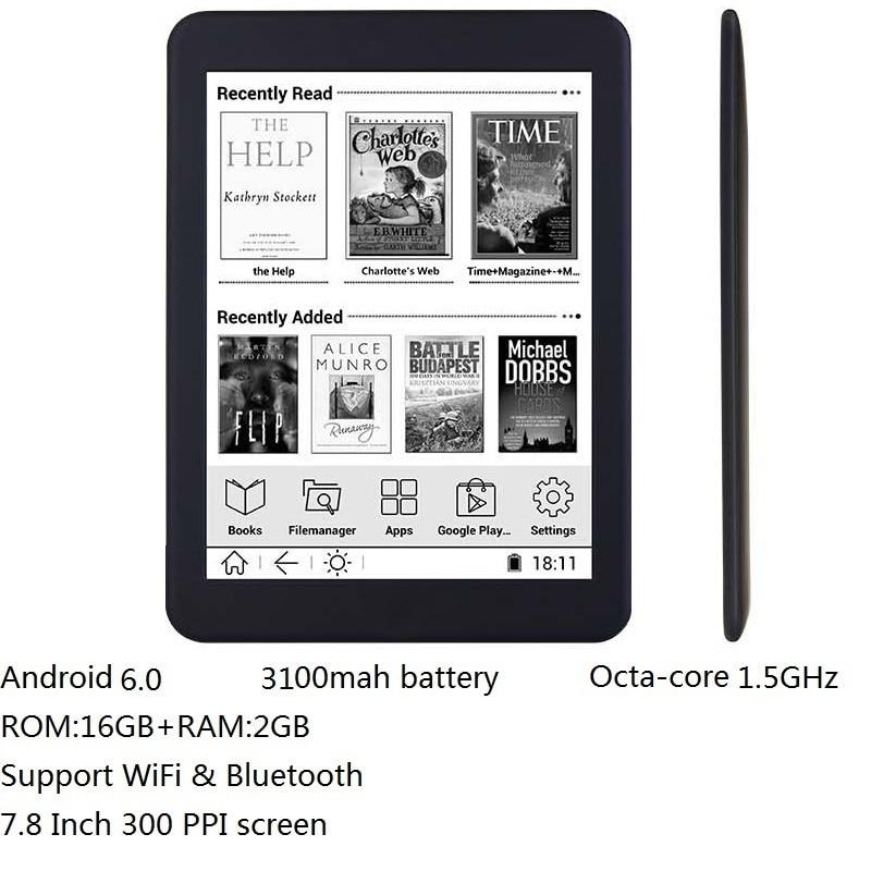 16GB E ספר 7.8 אינץ מגע HD מסך ספר אלקטרוני קורא אוקטה ליבות אנדרואיד WiFi Ereader Bluetooth אודיו E -דיו 3100mah סוללה + אוזניות
