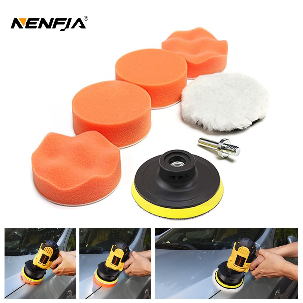 7pcs 3'' Car Sponge Polishing Pad Set Polishing Buffer Waxing Adapter Drill Kit for Auto Body Care Headlight Assembly Repair