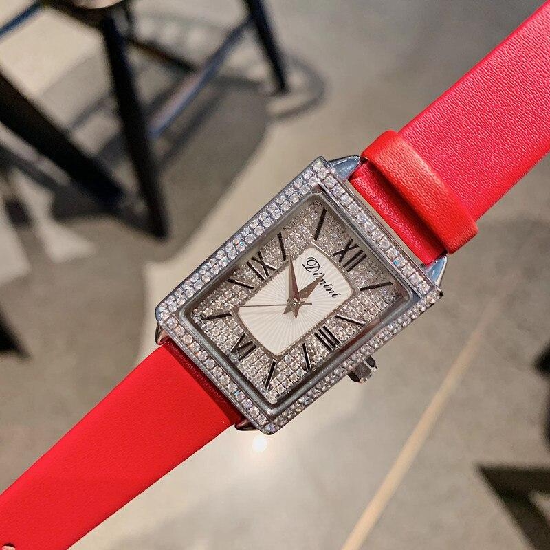 Relógios para as Mulheres Cristais de Luxo Relógio de Pulso do Vintage Pulseira de Couro Summer Fashion Sexy Tentador Vermelho Roman Relógio Quadrado Relógios