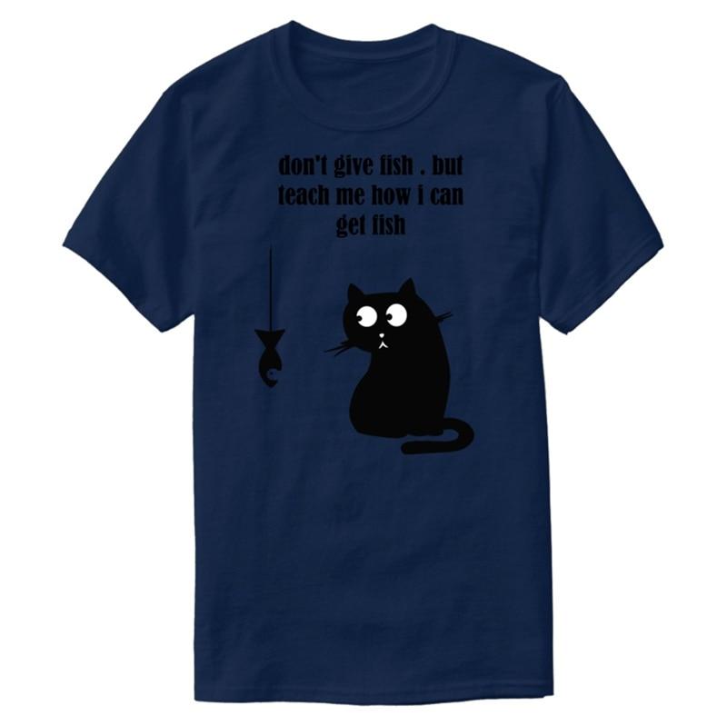Personalizar Dont Give Fish But Teach Me Cómo puedo conseguir Fish T Shirt para hombres O cuello para hombre Camiseta Streetwear Cute Tee superior