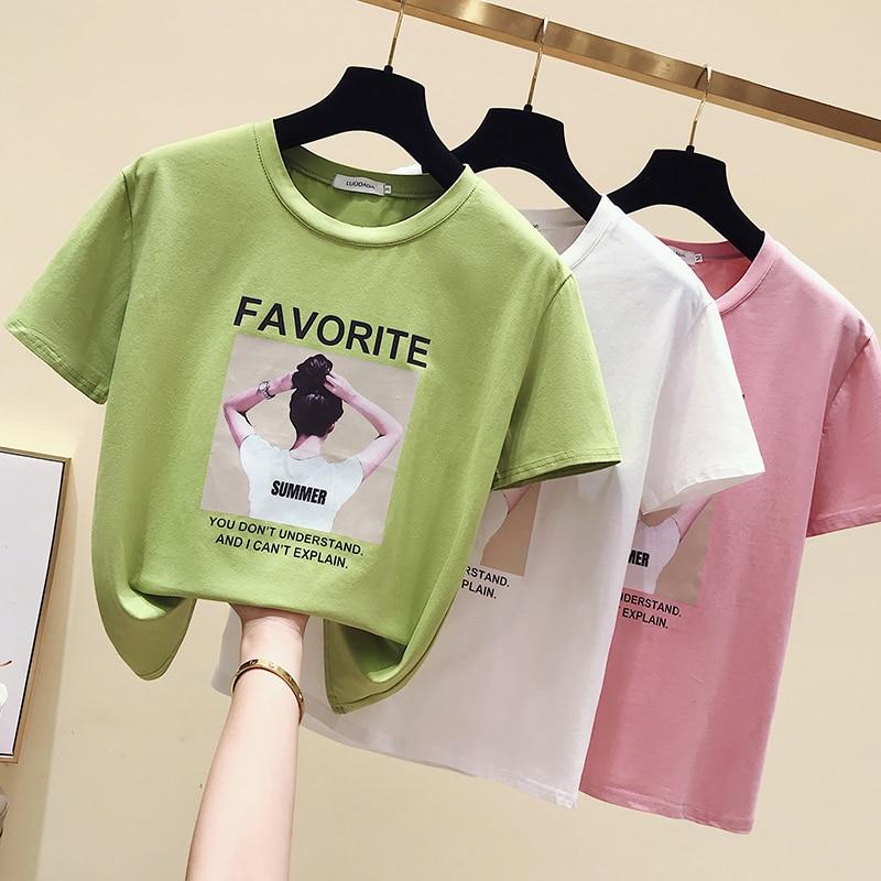 E Girl Style T Shirt Printed Summer Women Slim Korean Style Cotton White O Neck Tee Tshirt Harajuku   Clothes Top Camiseta Mujer
