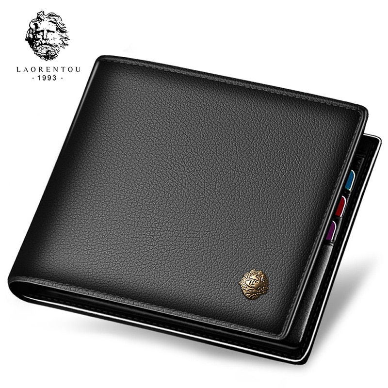 LAORENTOU Wallet Men 100% Genuine Leather Short Wallet Vintage Cow Leather Coin Purse Casual Wallets Purse Standard Card Holders contact s fashion genuine leather women wallet small standard wallets coin bag brand design lady purse card holders red brown