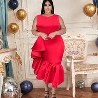 sleeveless red irregular ruffles midi bodycon dress for women with invisible zipper 2021 summer new ladies asymetrical robes