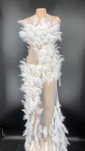 Женское длинное платье со стразами, прозрачное Сетчатое платье с разноцветными перьями, вечерние платья для свадебной вечеринки, одежда дл...