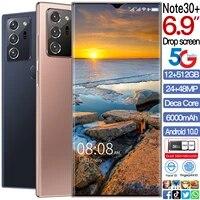 2021 newestgalax note30 6 9 mobile phone snapdragon 865 android 10 0 12gb512gb 6000mah fingerprint unlock smart cellphone