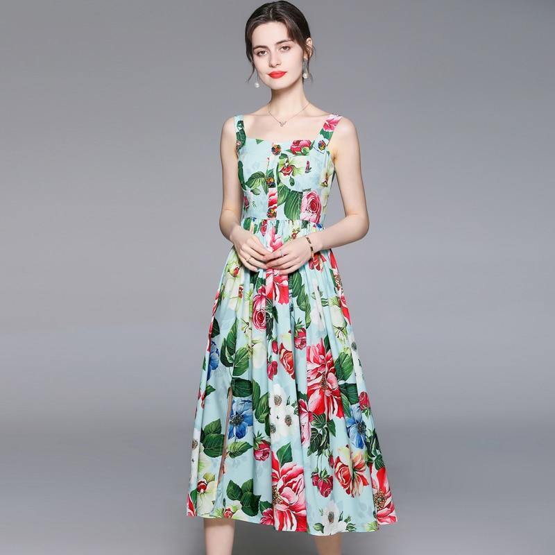 ZUOMAN Women Summer Elegant Floral Dress Festa High Quality Long Wedding Party Robe Femme Vintage Designer A-Line Vestidos