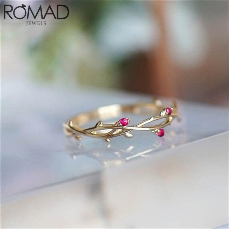 ROMAD Dainty arbre branche feuilles anneaux pour femmes Boho bijoux CZ pierre laurier couronne anneaux de mariage Knuckle Toe bagues cadeaux