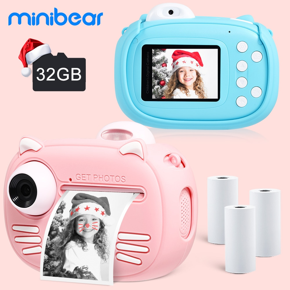 Minibear Children Camera For Kids Instant Camera 1080P Digital Camera For Children Photo Camera Toys For Girl Boy Birthday Gifts