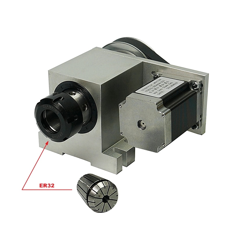 3M-6-ER32 CNC 4th rotativo eje divisor de cabeza ER32 con reductor de transmisión armónico para máquina de grabado