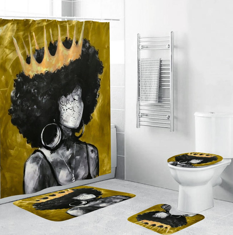 Cortina de ducha de tela de corona para mujeres afroamericanas, conjunto de baño Afro de arte dorado, alfombras antideslizantes, tapa de inodoro, alfombra de baño