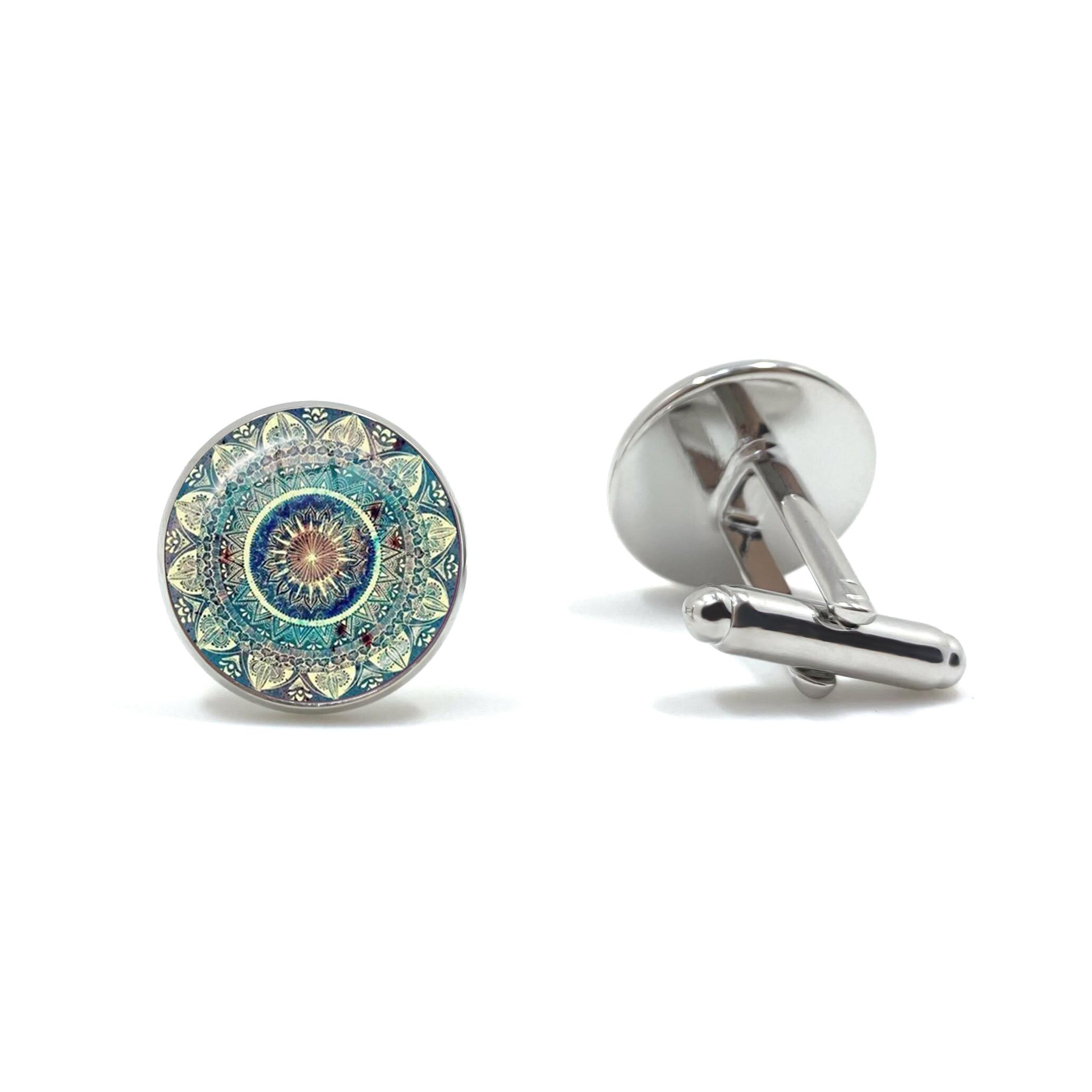 Charm Mandala Art Picture Cufflinks Henna Yoga Om Symbol Zen Buddhism Glass Cabochon Cuff Button For Male Gentleman Shirt Gift