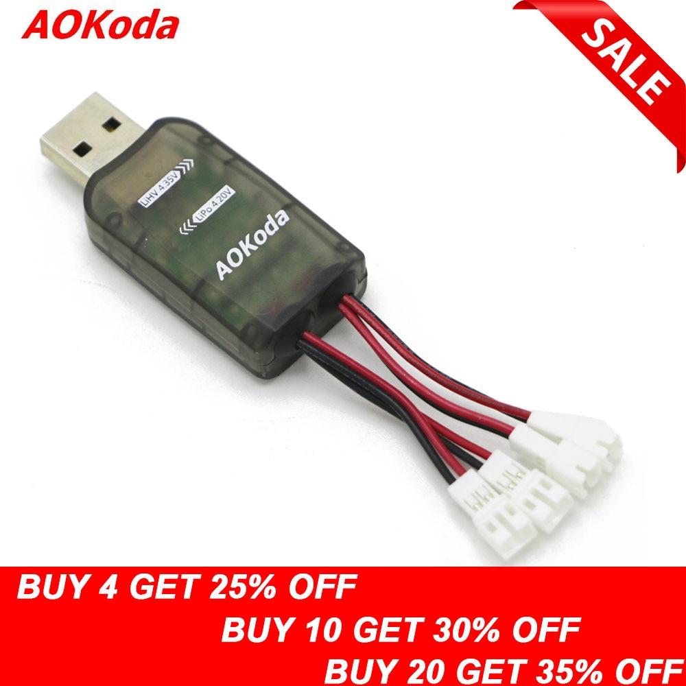 AOKoda CX405 4CH Micro USB cargador de batería para 1S Lipo LiHV batería de alta calidad para helicóptero RC
