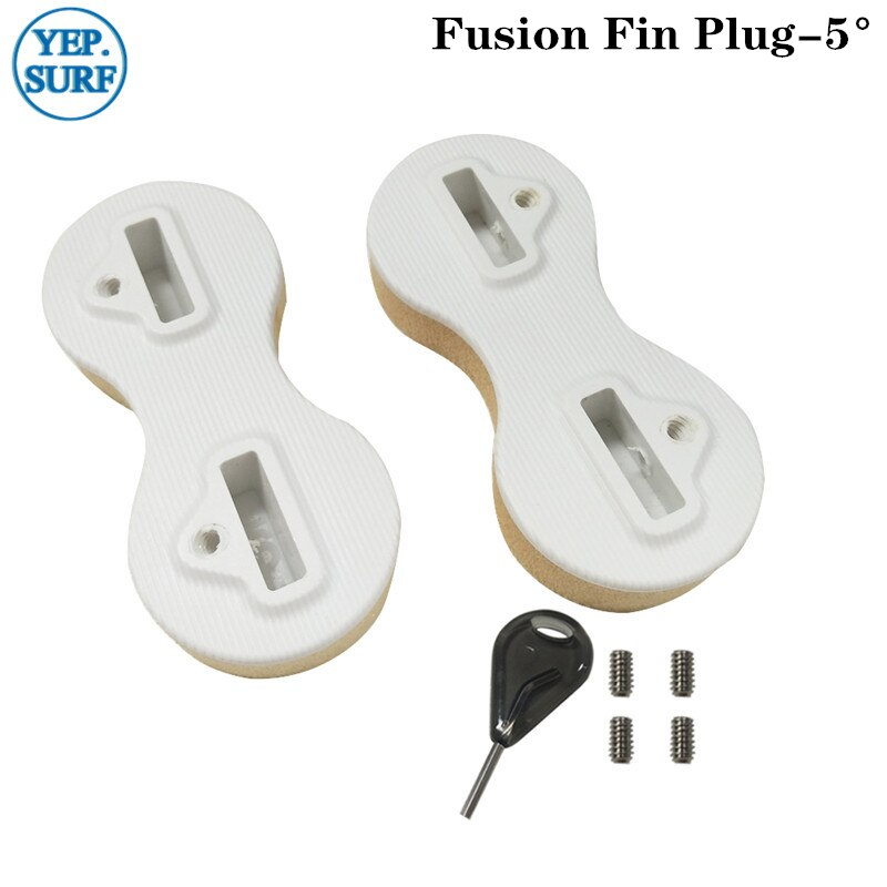 Surf FCS Fin Plug White Plastic Surf Fusion 5/9 Degree Fin Plug With Fin Key Free Shipping