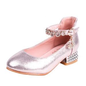 Girls' leather shoes high-heeled princess shoes 2020 new Korean version of soft-soled crystal heels dance shoes for older kids