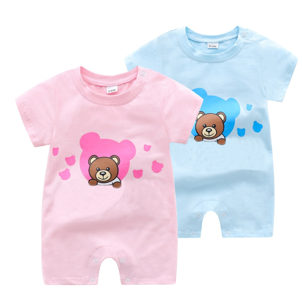 newborn baby clothes 100%cotton knit long sleeve baby girl romper summer toddler boy clothes fashion infant clothing New Summer newborn baby clothes short sleeve cotton Cute cartoon bear toddler baby boy girl romper