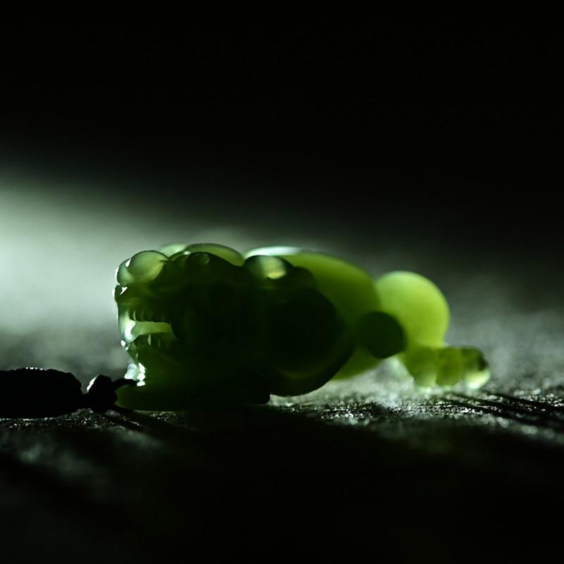 Natural hetian jade A green jade pendant handcarved jin chan 3-legged toad jade pendant jadeite jade necklace men women jewelry