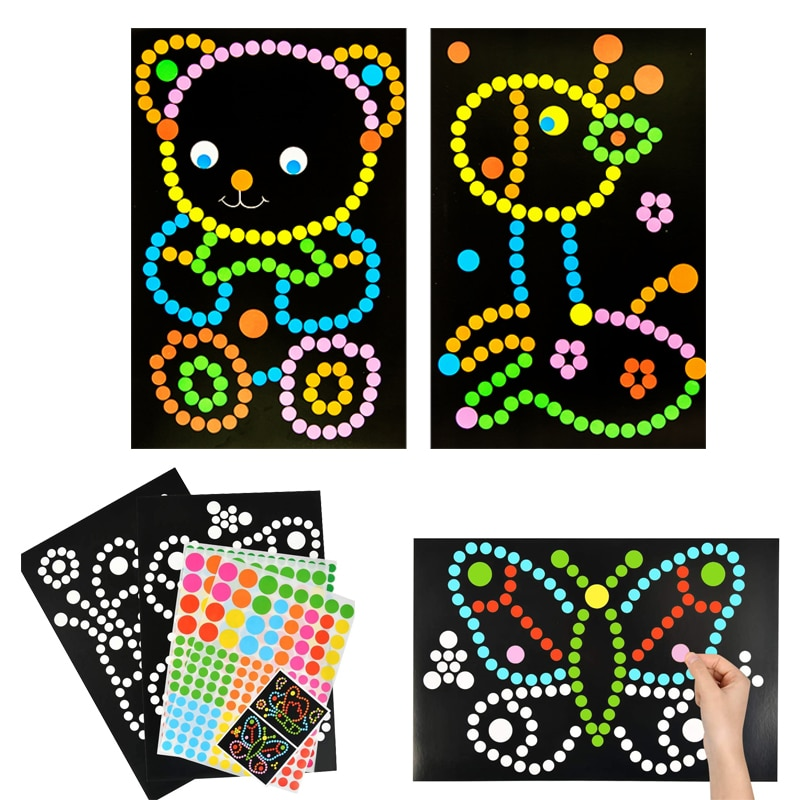 10/15pcs DIY Colorful Dot Primary Mosaic Puzzle Stickers Games DIY Cartoon Animal Learning Education Toys For Children Kids Gift
