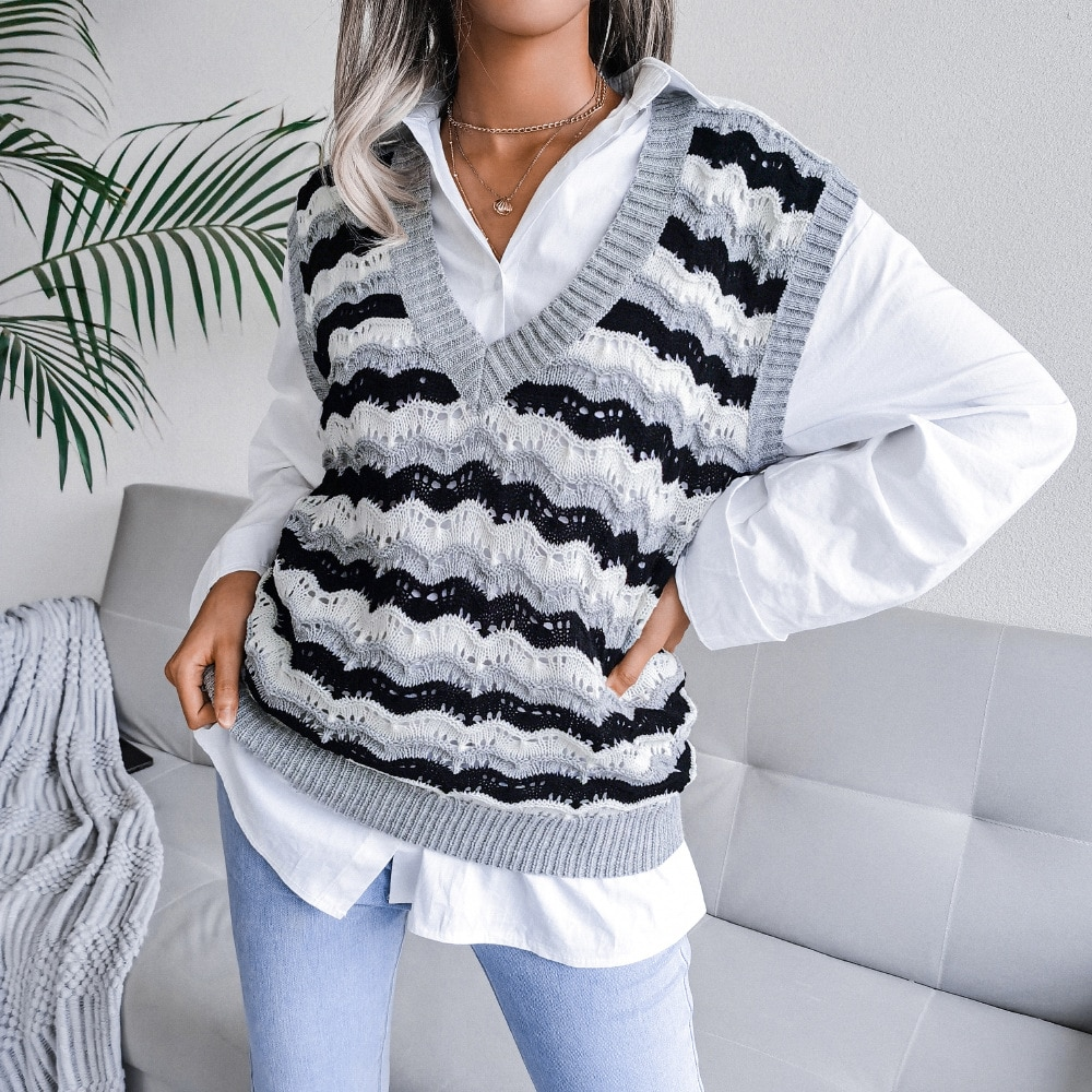 2021 Women's Casual Sleeveless Autumn V-neck Hollow Crop Sweaters Corrugated  Sweater Vest Ladies V Neck Knit Sweater Vest