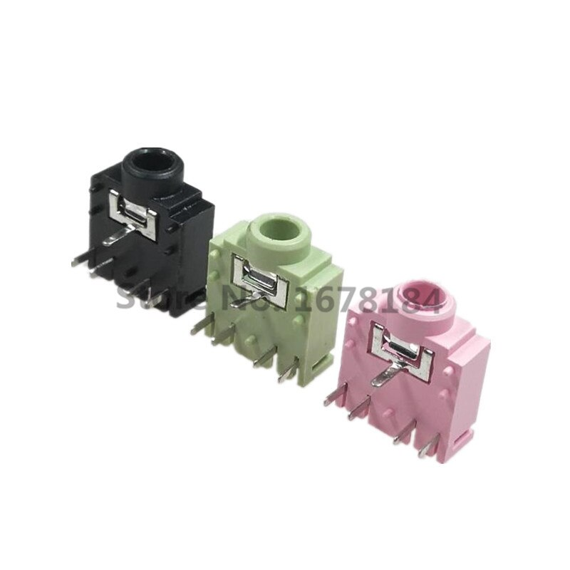 50Pcs PJ-307 PJ307 Groen/Roze/Zwart 3.5Mm Stereo Jack Socket Audio Jack Connector Pcb 3F07 -5PIN