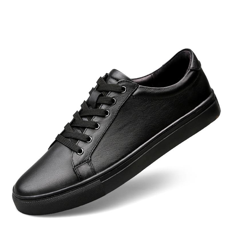 حذاء رياضي من الجلد الطبيعي للرجال ، حذاء كاجوال أبيض ناعم ، بسيط ، مسامي ، جودة عالية