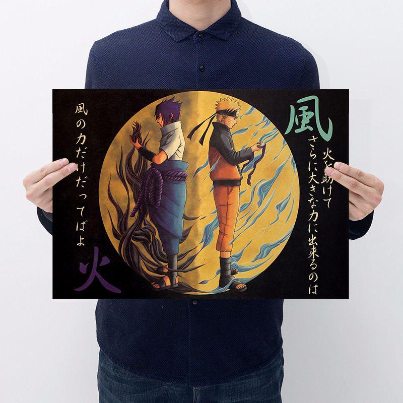 Японское аниме Наруто фигурка винтажные наклейки сасуки Какаси бар Спальня декоративный постер наклейки коллекция для детей