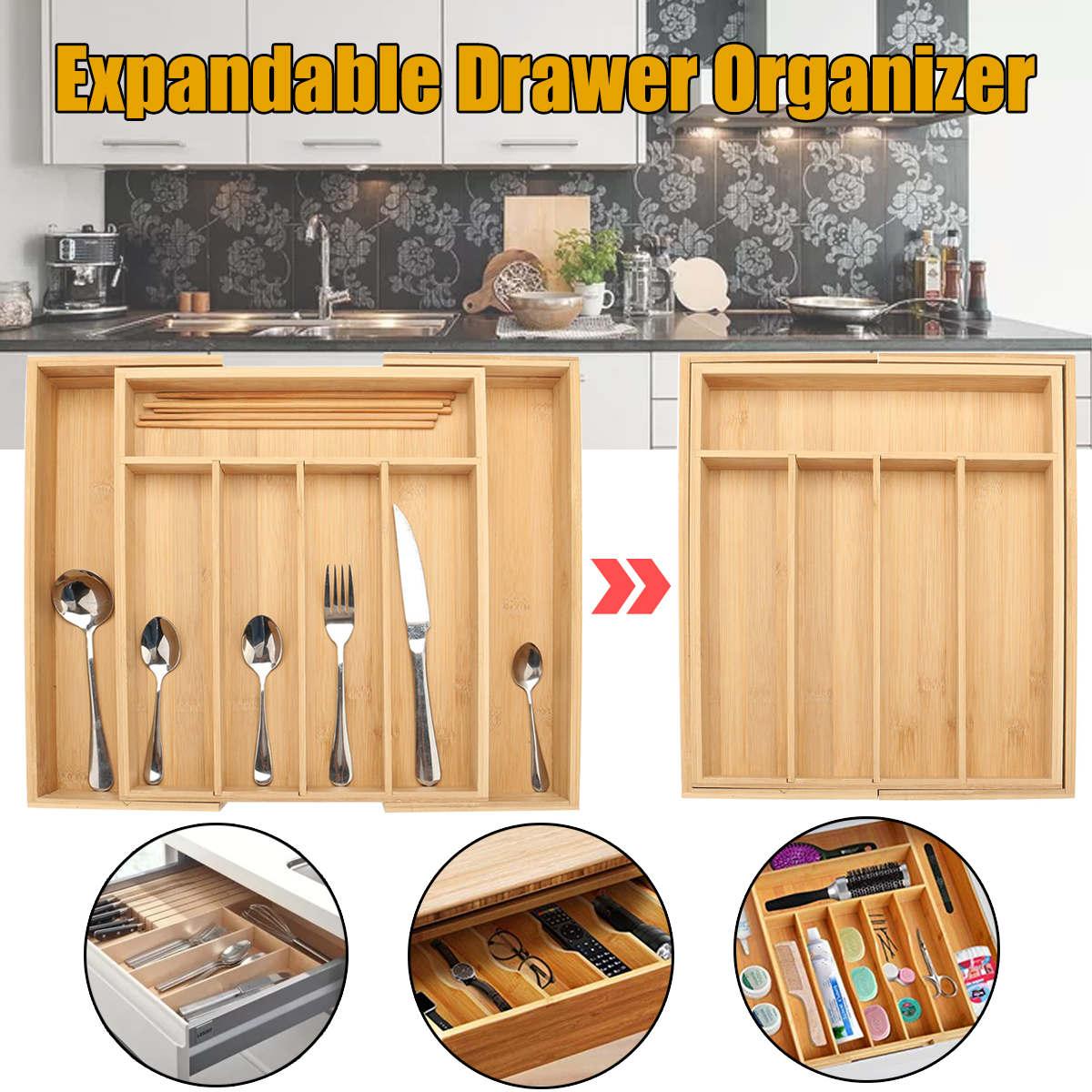 دولاب من خشب البامبو منظم درج المطبخ صينية لوازم المائدة توسيع أواني تخزين أدوات المائدة