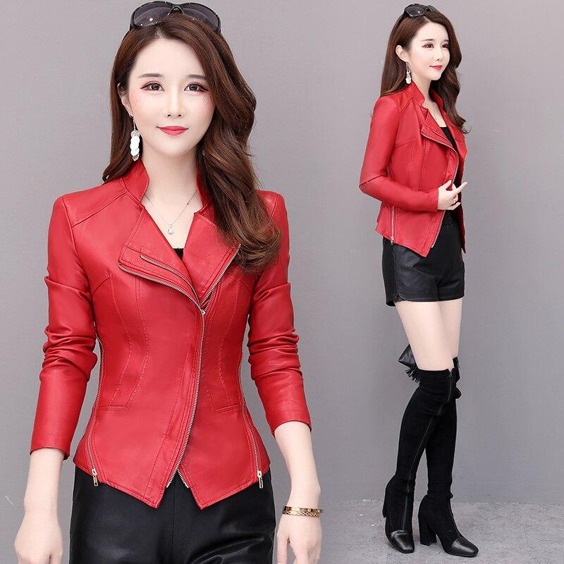 Демисезонная женская короткая кожаная куртка из искусственной кожи короткая куртка на молнии для молодых и средних женщин мотоциклетная к...