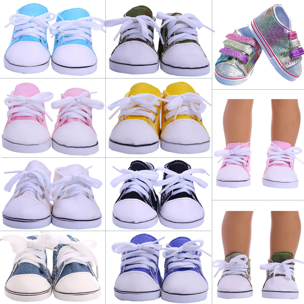 7Cm Doll Shoes Canvas Sequins Shoes For 43Cm Baby New Born Reborn Doll&18 Inch American Our Generation Girl`s Toy 1/3 Blythe DIY недорого