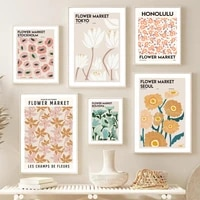 flower market tokyo illustration abstract wall art canvas painting nordic posters and prints wall pictures for living room decor
