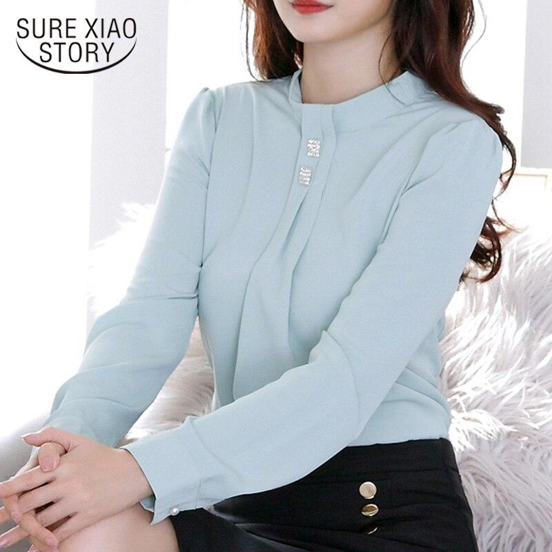 2019 New Autumn Korean Style Women Long Sleeve Chiffon Shirt Femal Mint Green Shirts Diamonds Women Tops and Blouses 6748 50