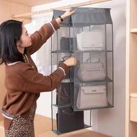 hanging handbag organizer for wardrobe closet transparent storage bag door wall dustproof clear sundry bag with hanger pouch