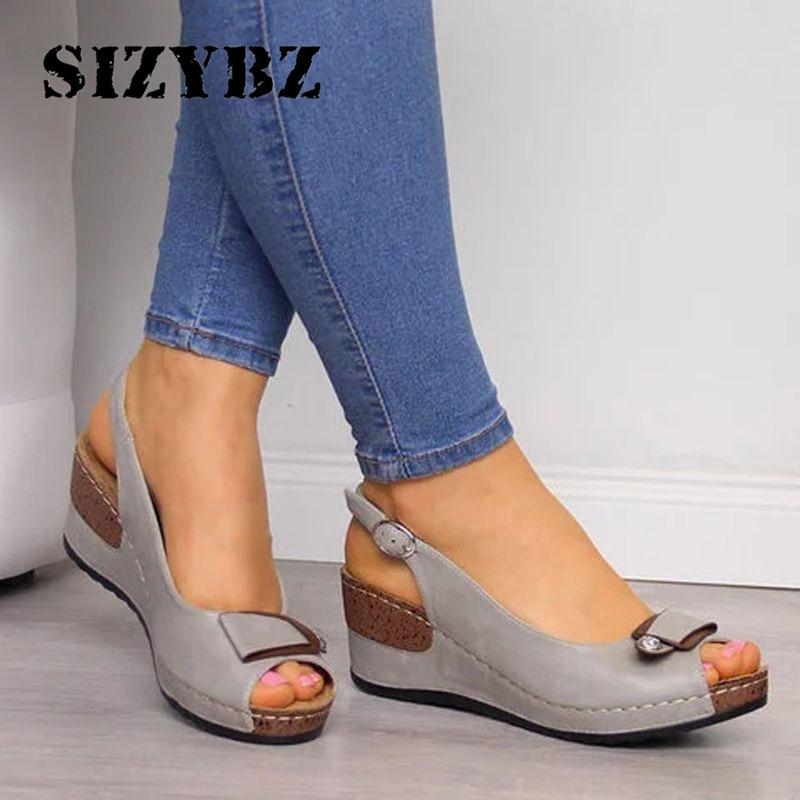 Wedge Sandals Women New Summer Shoes Female Peep-toe Comfortable Buckle Strap Sandals Slip-on Flat Sandals Female Sandalias