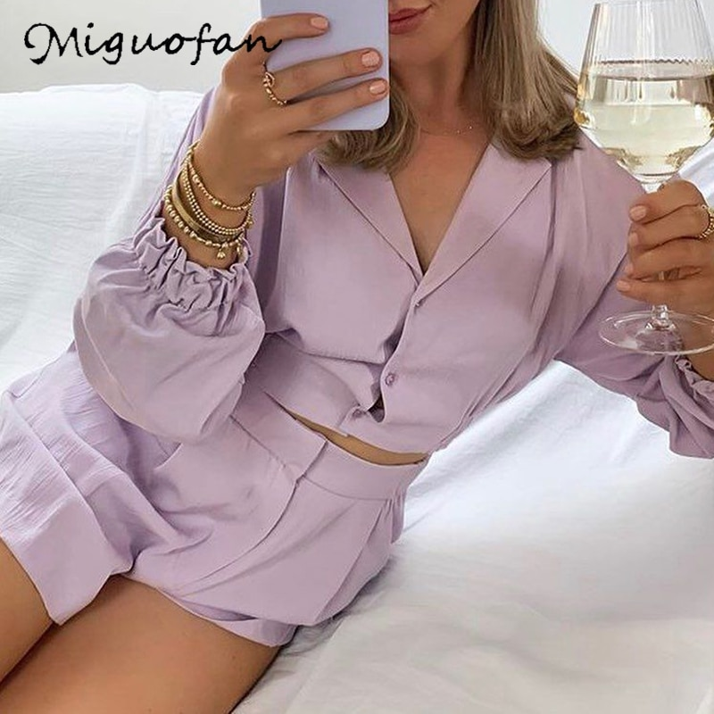Miguofan long sleeve shirt elegant v neck button purple solid blouse ladies sexy short women shirts camisas mujer 2020 za femme