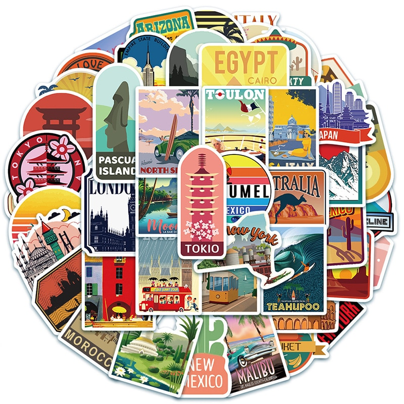 50PCS New Global Travel City Landscape Stickers Decal Vinyl for Stationery Scrapbooking Skateboard Laptop Guitar Sticker