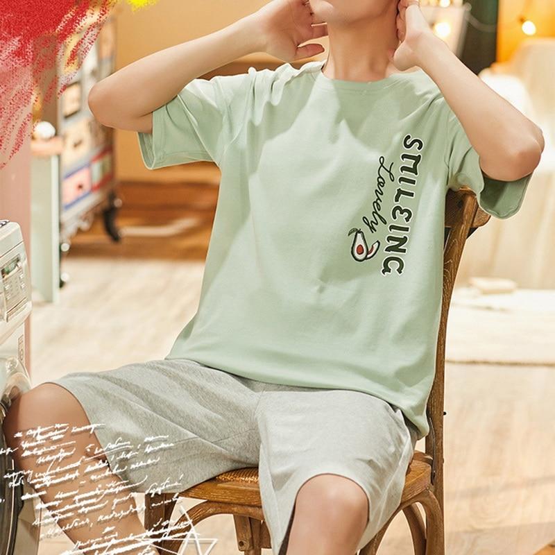 Men Summer Cotton Short-sleeved Shorts Pajamas Set Thin Section Home Suit Multi Styles L-xxxl Plus Sizes Mens Sleepwear Pajamas