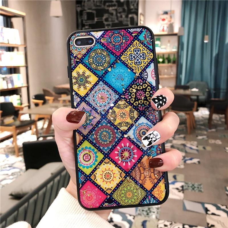 Funda multicolor de flores de rejilla para iPhone XS Max XR XS X 7 8 6 6S Plus estuche epoxi de lámina de oro brillante para iPhone 11 Pro Max 11 Pro 11