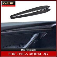 For Tesla Model 3 2021 Accessories  Car Door Decoration Sticker  Carbon Fiber ABS Model Y  Model Thr