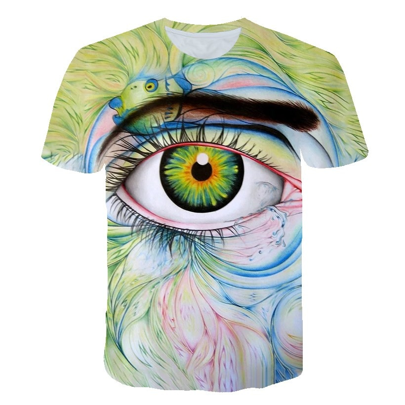 T-Shirt Eyes Painted Baby Clothes Boys Girls Casual Tops Children's Clothing 2021 Summer New Products Suitable For 4T-14T